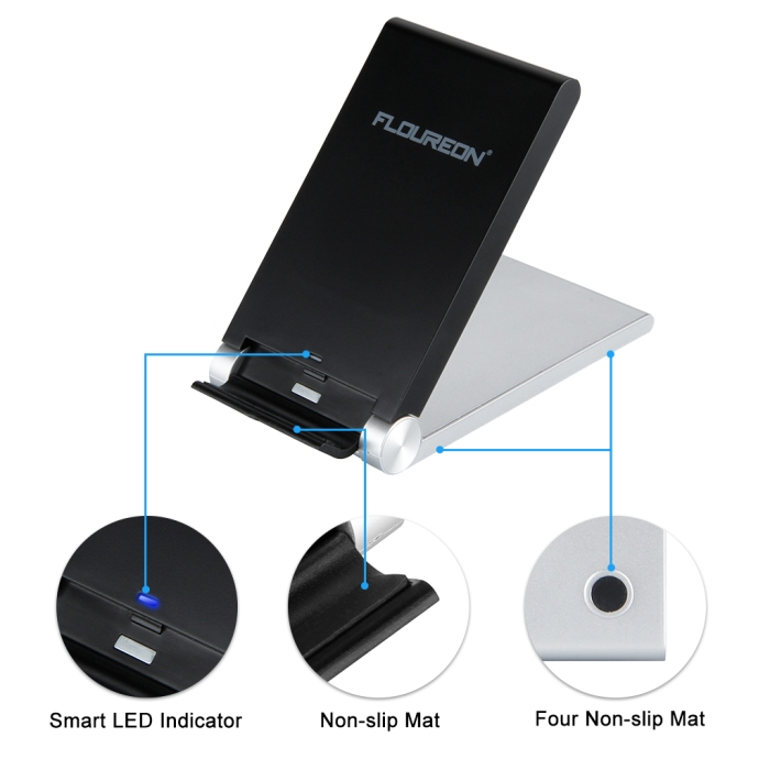 FLOUREON Qi Wireless Charger 3-Coils Folding Charging Stand (1)