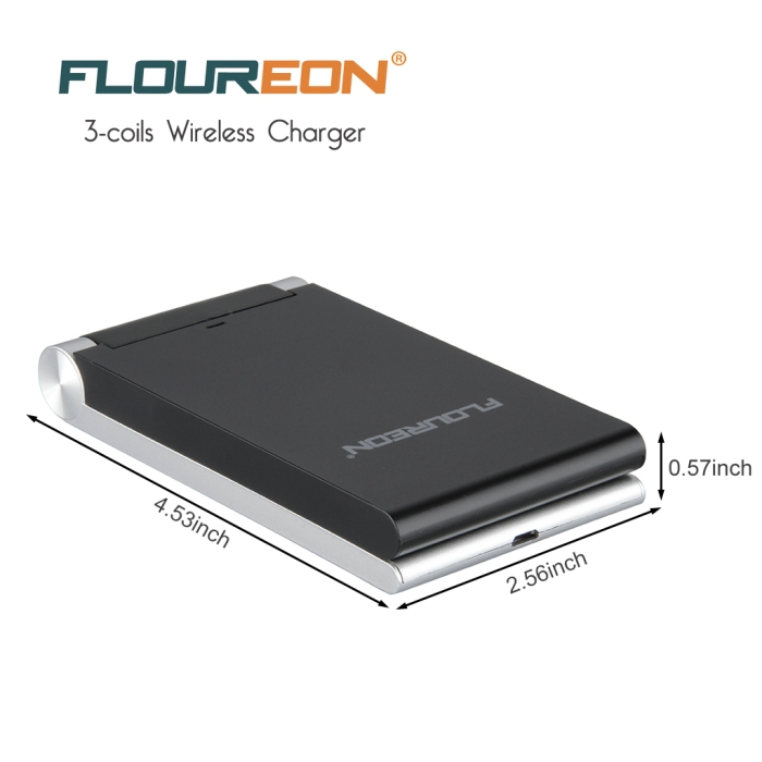 FLOUREON Qi Wireless Charger 3-Coils Folding Charging Stand (2)